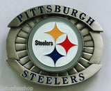"Pittsburgh Steelers Over-sized 4"" Pewter Metal Belt Buckle (NFL)"