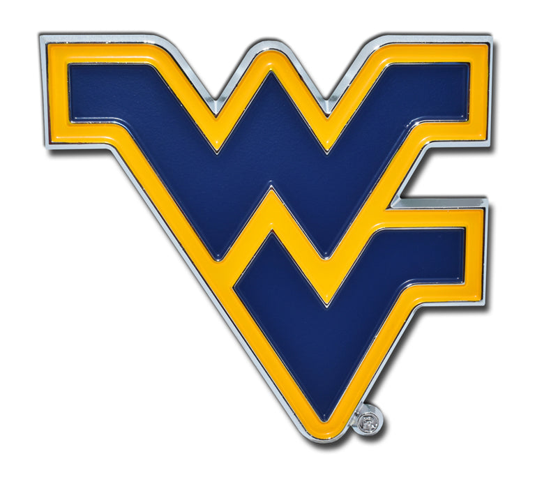 "West Virginia Mountaineers Chrome Metal Auto Emblem (Blue ""WV"") NCAA"