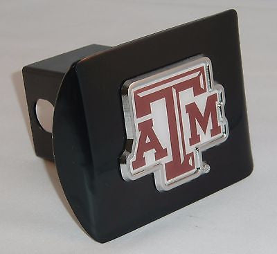 "Texas A&M Aggies Chrome Metal Black Hitch Cover (""ATM"" w/ Color) NCAA"
