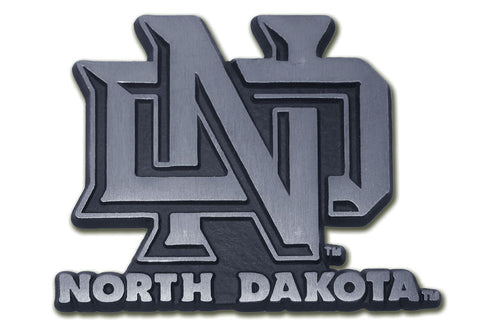 "North Dakota Fighting Sioux Chrome Metal Auto Emblem (Matte ""ND"") NCAA"