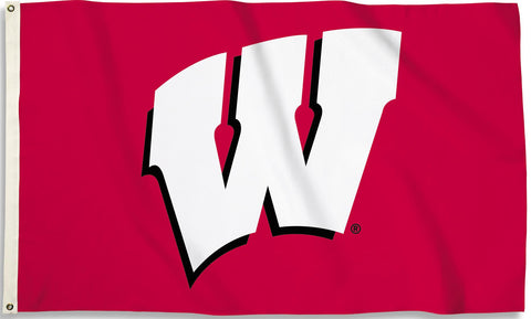 Wisconsin Badgers 3' x 5' Flag (Logo Only on Red) NCAA