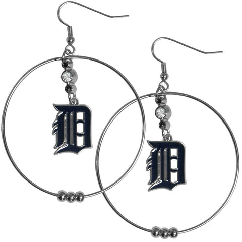 Detroit Tigers 2 inch Hoop Earrings MLB Licensed Baseball Jewelry