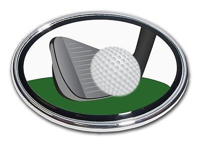 Golf Chrome Auto Emblem (Iron and Ball) (Oval)