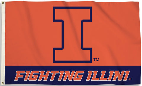 Illinois Fighting Illini 3' x 5' Flag (Logo with Wordmark) NCAA