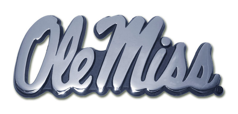 Ole Miss Rebels Chrome Metal Auto Emblem (Script) NCAA
