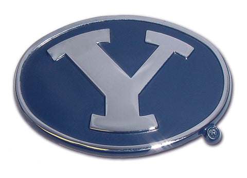 BYU Cougars Chrome Metal Auto Emblem (Blue and Chrome) NCAA