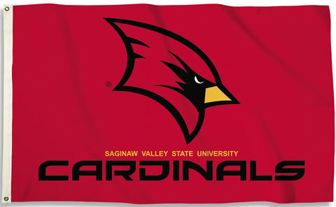 Saginaw Valley State Cardinals 3' x 5' Flag (Logo on Red) NCAA