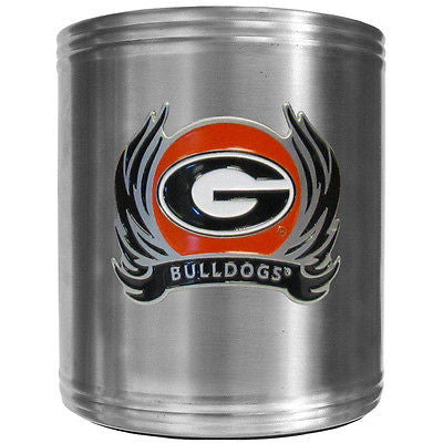 Georgia Bulldogs Insulated Stainless Steel Can Cooler Coozie (Flames) (NCAA)