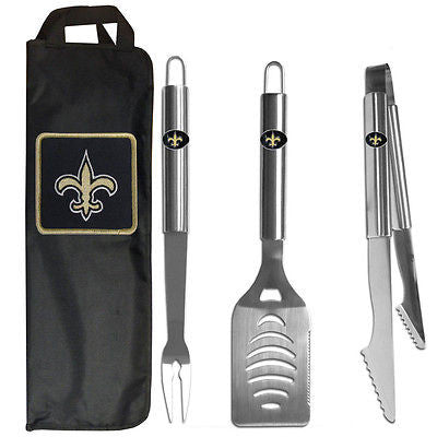 New Orleans Saints 3 Piece Stainless Steel BBQ Set with Canvas Bag (NFL)