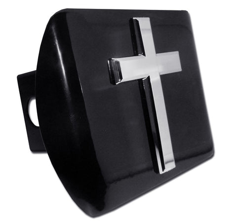 Cross Chrome Metal Black Hitch Cover