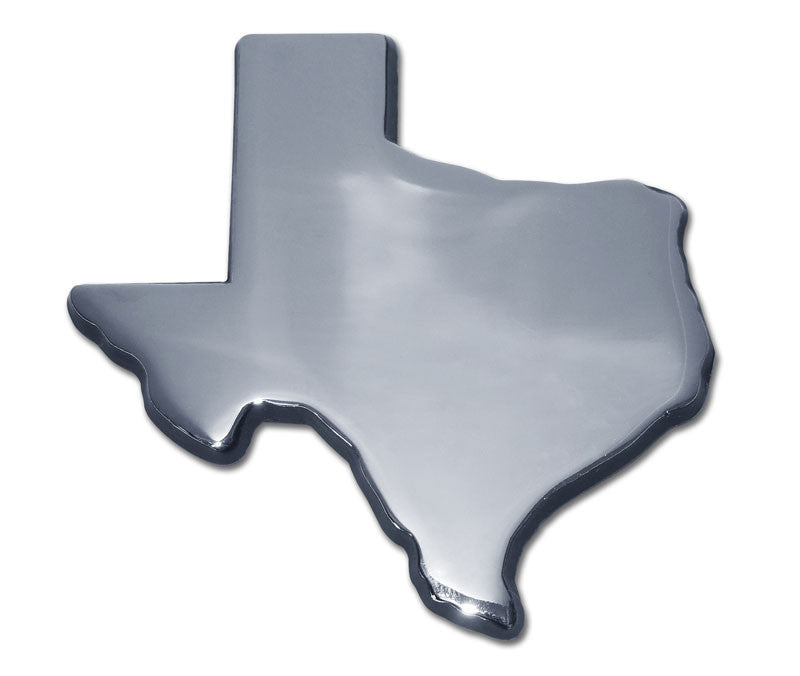 Texas State Shaped with Black Outline Chrome Metal Auto Emblem