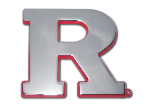 "Rutgers Scarlet Knights Chrome Metal Auto Emblem (Red ""R"") NCAA"