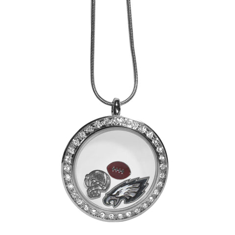 Philadelphia Eagles Snake Chain Necklace with Floating Charms Locket - NFL