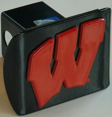 "Wisconsin Badgers Chrome Metal Black Hitch Cover (Red ""W"") NCAA"
