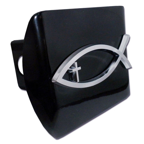 Christian Fish Chrome Metal Black Hitch Cover (Fish w/ Cross)