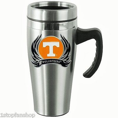 Tennessee Volunteers 14 oz Stainless Steel Travel Mug with Handle & Flames (NCAA)