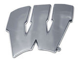 "Wisconsin Badgers Chrome Metal Auto Emblem (""W"") NCAA"