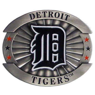 "Detroit Tigers Over-sized 4"" Pewter Metal Belt Buckle MLB"
