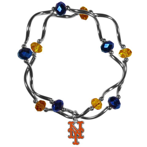 New York Mets Crystal Beads Bracelet Licensed MLB Baseball Jewelry