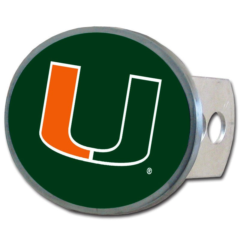 Miami Hurricanes Metal Oval Hitch Cover (NCAA)