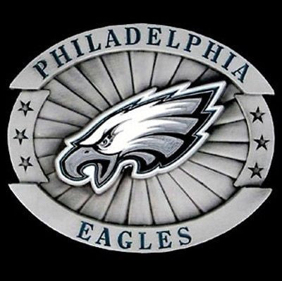 "Philadelphia Eagles Over-sized 4"" Pewter Metal Belt Buckle (NFL)"