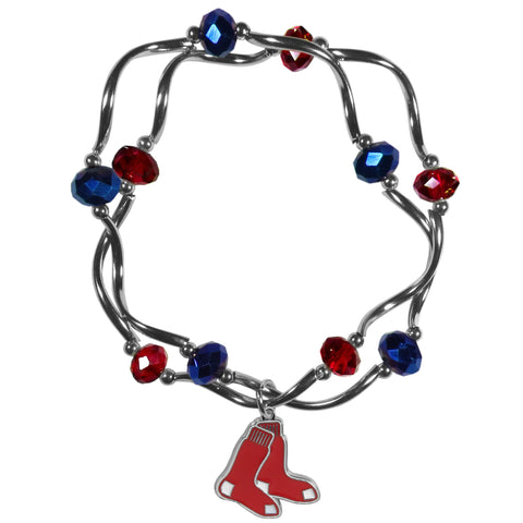 Boston Red Sox Crystal Beads Bracelet Licensed MLB Baseball Jewelry