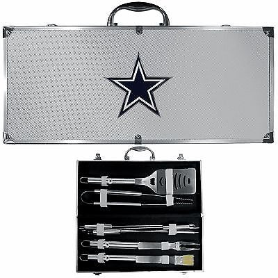 Dallas Cowboys 8 Piece Deluxe Stainless Steel BBQ Set with Case (NFL)
