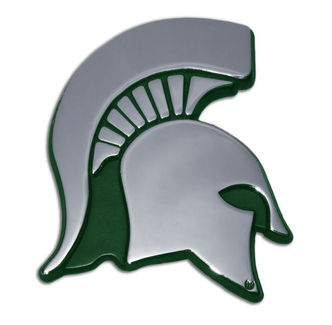 Michigan State Spartans Chrome Metal Auto Emblem (Green Spartan) NCAA
