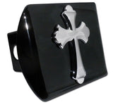 Cross Chrome Metal Black Hitch Cover (Ruffled)