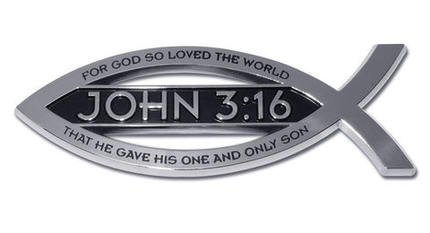Christian Fish Chrome Auto Emblem (John 3:16 Scripture)