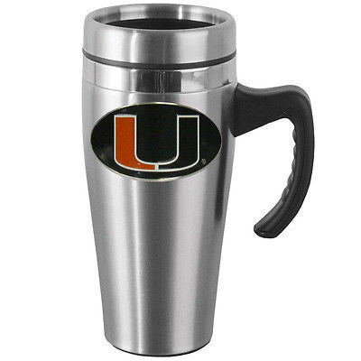 Miami Hurricanes 14 oz Stainless Steel Travel Mug with Handle (NCAA)