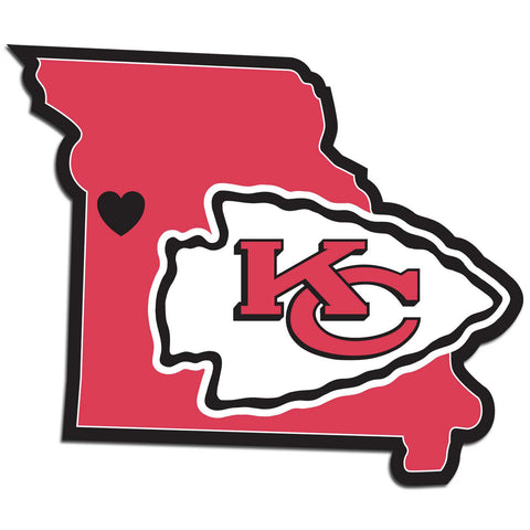 Kansas City Chiefs Home State Vinyl Auto Decal (NFL) Missouri Shape