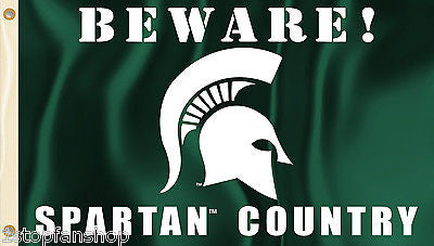Michigan State Spartans 3' x 5' Flag (Beware Spartan Country) NCAA