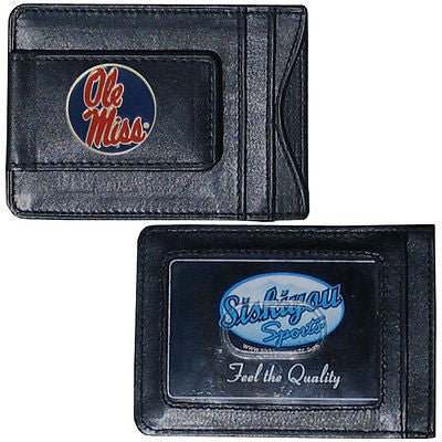 Ole Miss Rebels Fine Leather Money Clip (NCAA) Card & Cash Holder (Round)
