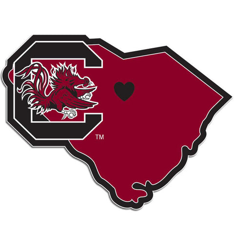South Carolina Gamecocks Home State Vinyl Auto Decal (NCAA) SC Shape