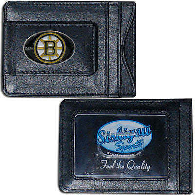 Boston Bruins Fine Leather Money Clip Card & Cash Holder NHL