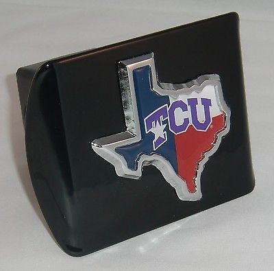 TCU Texas Christian Horned Frogs Chrome Metal Black Hitch Cover (Texas Shape w/ Color) NCAA