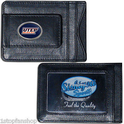 UTEP Miners Fine Leather Money Clip (NCAA) Card & Cash Holder