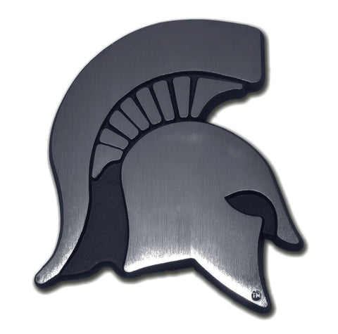 Michigan State Spartans Chrome Metal Auto Emblem (Matte Spartan) NCAA
