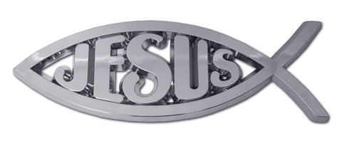 Christian Fish Chrome Auto Emblem (Fish With Jesus)