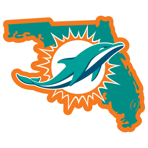 Miami Dolphins Home State Magnet (NFL) Florida Shape
