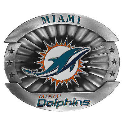 "Miami Dolphins Over-sized 4"" Pewter Metal Belt Buckle (NFL)"