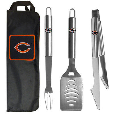 Chicago Bears 3 Piece Stainless Steel BBQ Set with Canvas Bag (NFL)