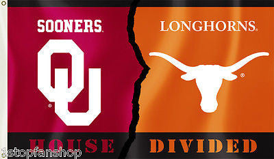 Oklahoma Sooners Texas Longhorns 3' x 5' House Divided Flag NCAA