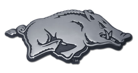 Arkansas Razorbacks Chrome Metal Auto Emblem (Running Hog) NCAA