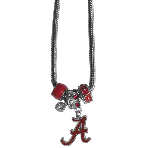 Alabama Crimson Tide Snake Chain Necklace with Euro Beads NCAA Jewelry