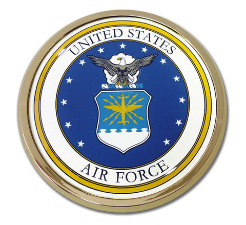 U.S. Air Force Chrome Metal Auto Emblem (Seal) Officially Licensed