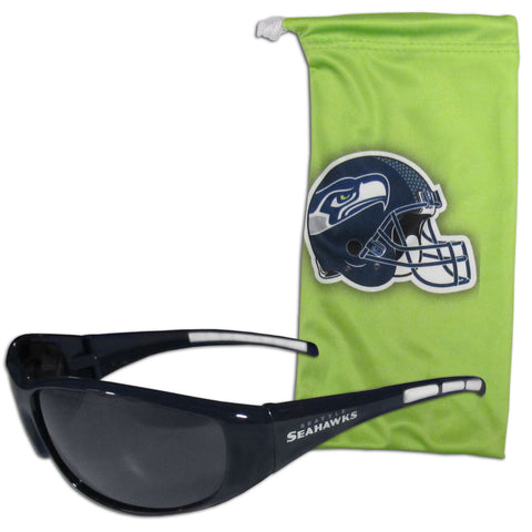 Seattle Seahawks Wrap Sunglasses with Microfiber Bag (NFL)