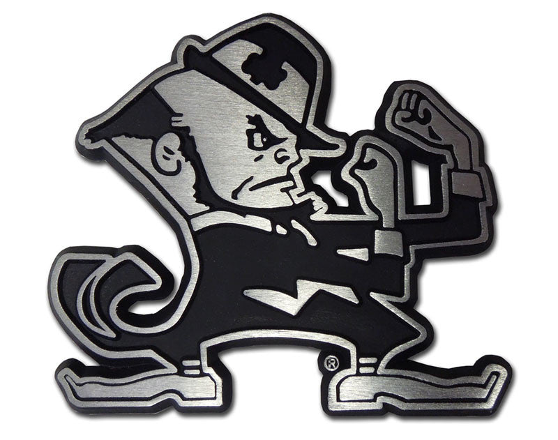 Notre Dame Fighting Irish Chrome Metal Auto Emblem (Matte Leprechaun) NCAA