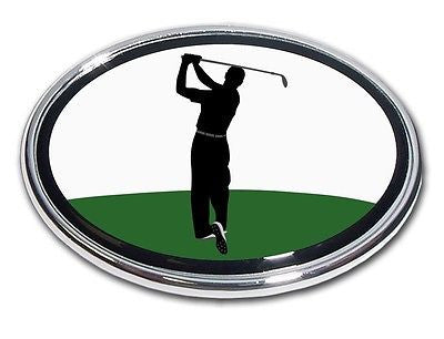 Golf Chrome Auto Emblem (Male Golfer Back Swing) (Oval)